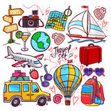 Colorful travel icon set. Airplane, car, ship. hand-drawn illustration Royalty Free Stock Photos