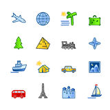 Colorful travel icons stock illustration