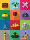 Colorful travel icons Stock Photography