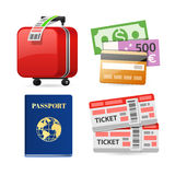 Colorful Travel Planning Icons Stock Photography