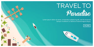 Colorful Travel to Paradise. Tropical beach. Cruise liner. Best cruise. Vector flat banner for your business. Royalty Free Stock Photography