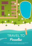 Colorful Travel to Paradise. Tropical beach. Cruise liner. Best cruise. Vector flat banner for your business. Stock Image