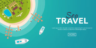 Colorful Travel to Paradise. Tropical beach. Cruise liner. Best cruise. Vector flat banner for your business. Stock Images