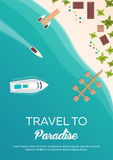 Colorful Travel to Paradise. Tropical beach. Cruise liner. Best cruise. Vector flat banner for your business. Stock Photo