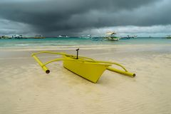 Colorful traveling boat in the sea with clouds and blue sky at Boracay Island, Philippines. For nature background royalty free stock photo
