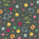 Colorful treasure island  seamless pattern, pirate theme. Colored endless background with treasure chest, island, palms, pearl, diamond and coins. Bright and Royalty Free Stock Photography