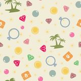 Colorful treasure island  seamless pattern, pirate theme. Colored endless background with treasure chest, island, palms, pearl, diamond and coins. Bright and Royalty Free Stock Image