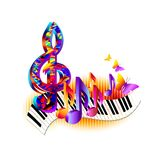 Colorful treble clef, 3d music notes with piano keyboard and butterfly. Stock Images