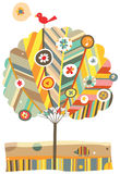 Colorful Tree. Whimsical tree with floral and animal elements Stock Images