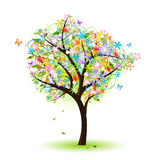 Colorful tree. With flower butterfly and ladybug
