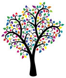 Colorful tree. Vector design of colorful tree isolated on white stock illustration