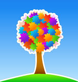 Colorful Tree. On Green Meadow stock illustration