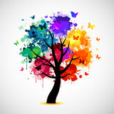 Colorful tree background with paint splat and butterflies Royalty Free Stock Photos