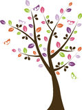 Colorful Tree with Butterflies Vector Royalty Free Stock Photography