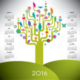Colorful tree calendar for 2016. A playful and colorful tree calendar for 2016 Royalty Free Illustration
