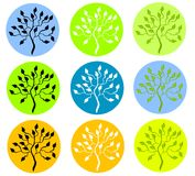 Colorful Tree in Circle Icons Stock Photography
