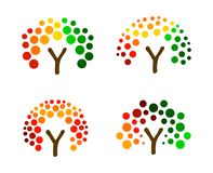 Colorful tree from circles, vector logo set. Abstract forest icons collection. Eco organic product icon. Stock Images
