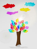 Colorful tree and clouds Stock Photography