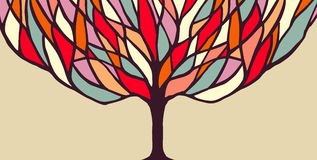 Colorful tree concept illustration for banner Stock Photography