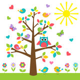 Colorful tree. With cute owl and birds stock illustration