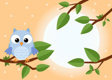 Colorful tree with cute owl. Cartoon bird in sunny forest. Flat stock illustration