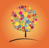 Colorful tree with flowers Royalty Free Stock Photo
