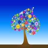 Colorful tree with flowers Stock Image