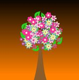 Colorful tree with flowers Royalty Free Stock Image
