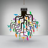 Colorful Tree Hung by a Binder Clip Royalty Free Stock Images