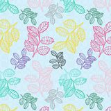 Colorful tree leaves seamless pattern over light blue textured background royalty free illustration