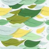 Colorful tree leaves and water drops. Seamless pattern Stock Photography