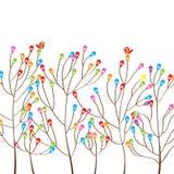 Colorful tree modern bird. Illustration modern colorful tree bird white background stock illustration