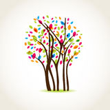 Colorful Tree With Butterflies Stock Images