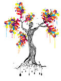Colorful tree with women silhouette. Illustration Stock Photography