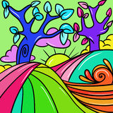 Colorful trees. Abstract illustration with colorful trees Royalty Free Stock Photo