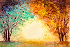 Colorful trees in autumn in a park stock illustration