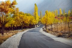 Colorful trees in autumn season along the empty road in Skardu. Gilgit Baltistan, Pakistan stock image
