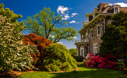 Colorful trees and bushes behind the mansion at Cylburn Arboretum Stock Images