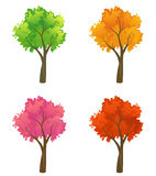 Colorful trees collection. Set of colorful cartoon trees Royalty Free Stock Photos
