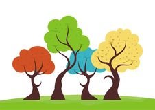 Colorful trees. Collections with lovely, beauty and seamless design Royalty Free Stock Images
