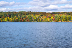 Colorful Trees in the Fall by a Lake #1. Fall Colors on Display in Grandview Lake in Haliburton near Algonquin Park, Ontario, Canada #1 royalty free stock photos