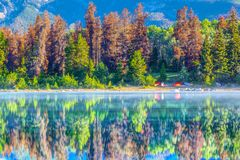 Reflections on Patricia Lake in Jasper National Park Alberta Can Royalty Free Stock Photo