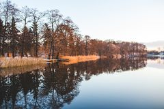 Colorful trees mirroring in the lake Stock Photography