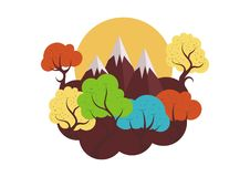 Colorful trees with mountain. Colorful trees collections with lovely, beauty and seamless design Stock Photo