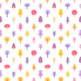 Colorful trees in the park seamless pattern Royalty Free Stock Photos
