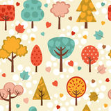 Colorful trees seamless background Royalty Free Stock Photos