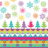 Colorful trees and snowflakes print Royalty Free Stock Image