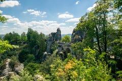 The Bastei Bridge in Germany stock photo