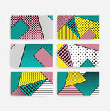 Colorful trend pop art geometric pattern set Royalty Free Stock Image
