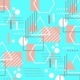 Colorful trendy geometric flat elements of pattern memphis. Cyan blue and coral pink color Pop art style texture. Modern abstract royalty free illustration